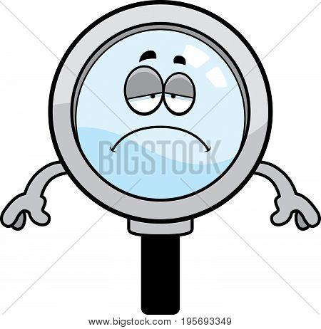 Sad Cartoon Magnifying Glass