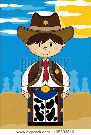 Cute Cartoon Wild West Cowboy Sheriff Scene