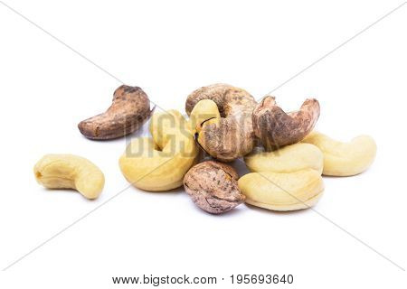 Roasted cashew nuts isolated on white background