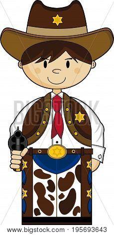 Cute Cartoon Wild West Cowboy Sheriff with Gun