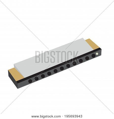 Isolated harmonica on a white background, Vector illustration