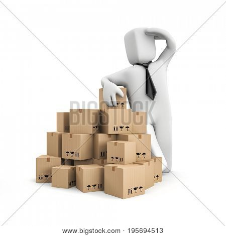 Businessman looks over the horizon in anticipation of the sale. Warehouse metaphor. 3d illustration
