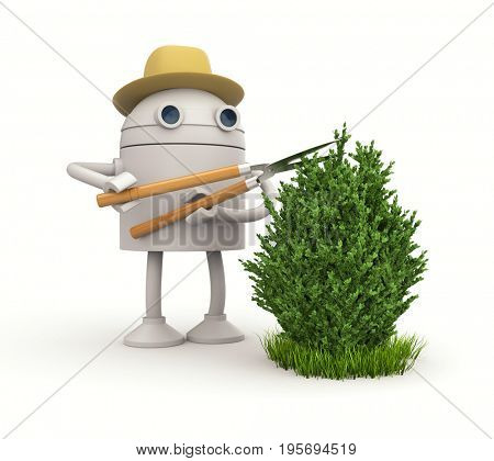 Robot gardener. Robot cuts bush. 3d illustration