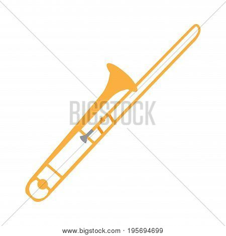 Isolated trombone instrument on a white background, Vector illustration