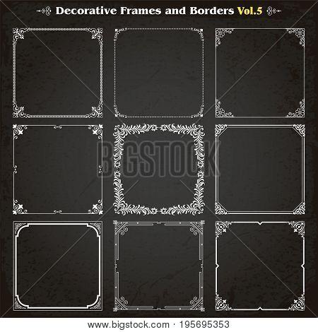 Decorative square frames borders backgrounds design elements set 5 vector