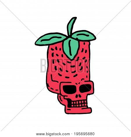 Skull Strawberry Drawing. Head Of Skeleton Red Berry Cartoon