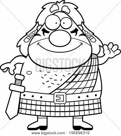 Cartoon Celtic Warrior Waving