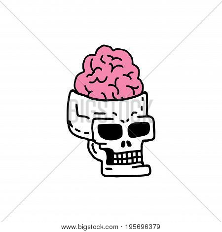 Skull With Brains Drawning. Head Of Skeleton With Convolutions Of Cartoon Style