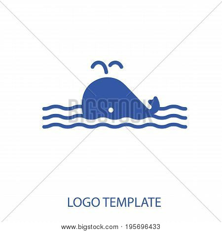 Linear stylized drawing of whale - for icon or sign template