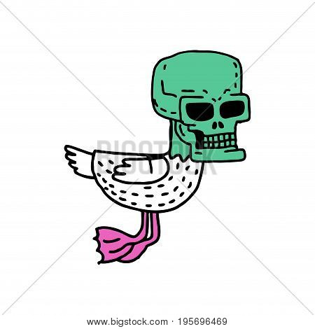 Dead Duck Drawning. Drake With Skull Cartoon Style