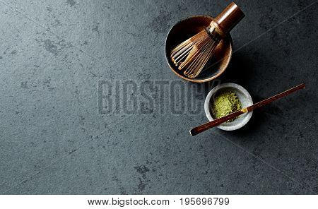 Matcha Green Tea, Tea Whisk and a Tea Cup poster