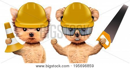 Funny dogs in hard hat with cone and saw isolated on white background. Constructor and handyman concept. 3D illustration with clipping path