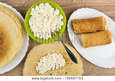 Cottage Cheese In Bowl, Stuffing On Pancakes And Prepared Pancakes