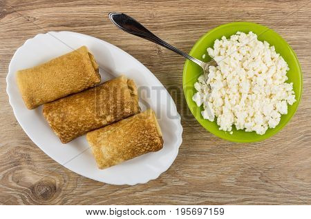 Fried Pancakes With Stuffed In Dish And Cottage Cheese