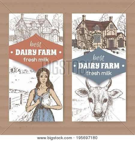 Set of two color dairy farm shop labels with traditional farmhouse, milkmaid and cow on white background. Placed on cardboard texture. Includes hand drawn elements.
