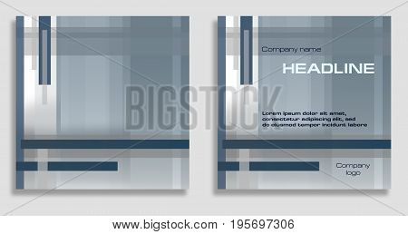 Geometric abstract background with sample of text arrangement. Square template in blue glaucous and gray hues. Layout design for covers brochures prospectus posters flyers web sites annual reports