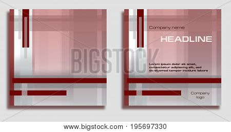 Square geometric background with sample of text arrangement. Template in bordo dark red and gray hues. Layout design for covers brochures prospectus posters web sites annual reports