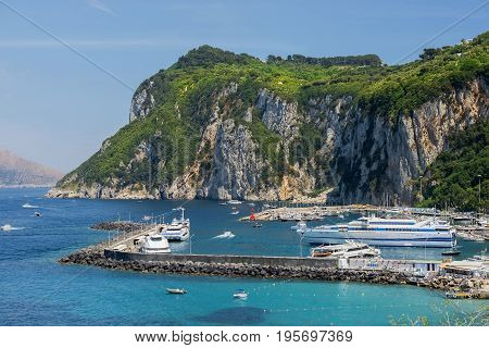 AMALFI, ITALY - MAY 23, 2017: picturesque landscape with sea in the  Amalfi, Gulf of Salerno, Italy