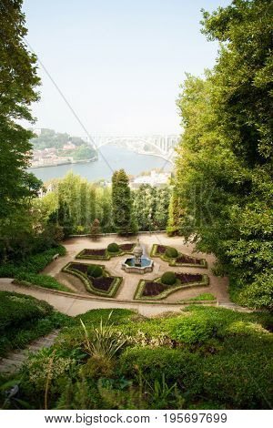 View to the river Douro from garden Jardins do Palacio de Cristal, Portugal, Porto