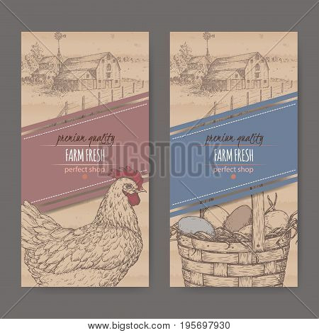Set of two farm fresh labels with farmhouse, chicken and eggs in wicker basket on cardboard texture. Includes hand drawn elements.