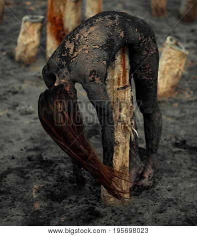 Young woman smeared with therapeutic mud and lies on wooden column next there is mud estuary. Spa.