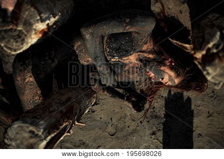 Young woman smeared with therapeutic mud and lies near wooden column. Mud forms crust on her body. Spa.