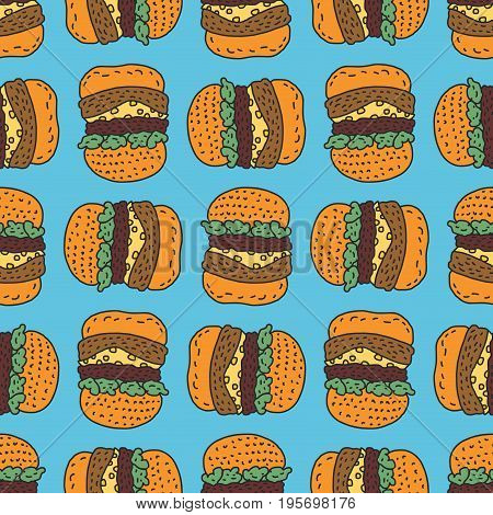 Hamburger Drawing Pattern. Big Burger Cartoon Style Background. Fast Food Ornament