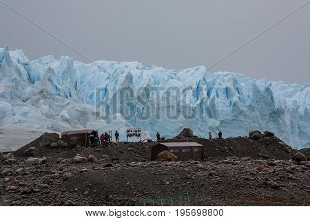Ice trekking station at the Perito Moreno glacier in Patagonia, Argentina
