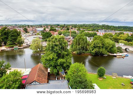 Elevated view of Stratford-Upon-Avon, Warwickhire, England, the birthplace of William Shakespeare, selective focus
