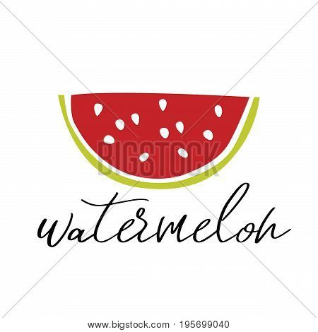 Watermelon in minimalism style vector illustration. Summer poster. Hello summer