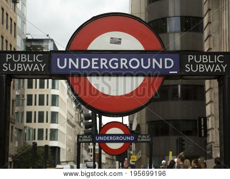 LONDON, UK - JUNE 5 , 2017:  Underground sign of London.  The Underground serves 270 stations, on  eleven lines total 402 kilometres in length, making it the third longest metro system in the world.