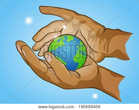 two hands holding planet Earth cherish the globe hand drawn vector illustration