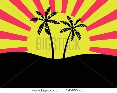 Palm Trees Against The Background Of The Sun. Dawn, Bright Banner. Vector Illustration