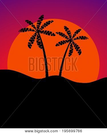 Palm Trees Against The Background Of The Sun. Banner With Space For Text. Vector Illustration