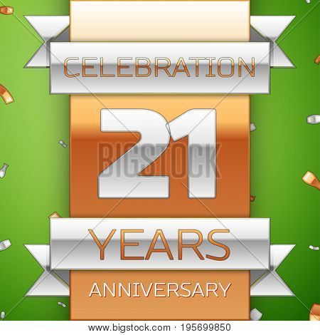 Realistic Twenty one Years Anniversary Celebration Design. Silver and golden ribbon, confetti on green background. Colorful Vector template elements for your birthday party. Anniversary ribbon