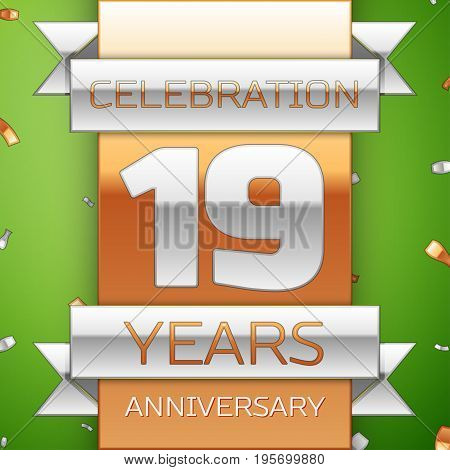 Realistic Nineteen Years Anniversary Celebration Design. Silver and golden ribbon, confetti on green background. Colorful Vector template elements for your birthday party. Anniversary ribbon