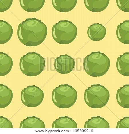 Cabbage vector seamless pattern. Cartoon vegetable stylish texture. Repeating cabbage vegetables seamless pattern background for eco bio vegetables design and web