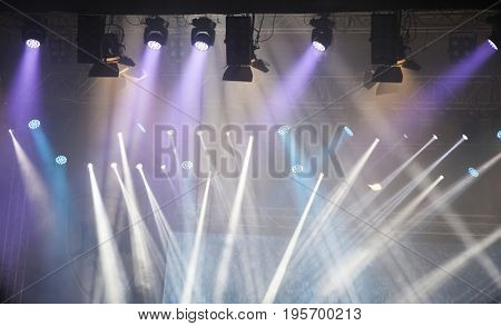Colorful lights in a concert stage