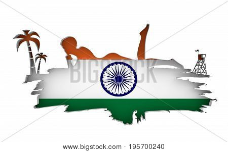 Young woman sunbathing on a beach. Cutout silhouette of the relaxing girl on a grunge brush stroke. Palm and lifeguard tower. Flag of the India on backdrop. 3D rendering.