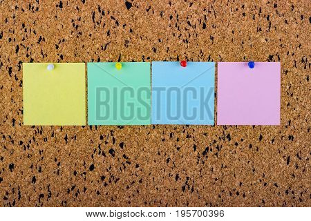 cork board with blank notes. blank notes for copy space