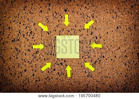 sticky note on cork board empty space for text