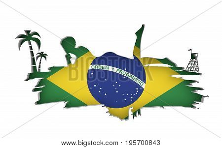 Young woman sunbathing on a beach. Cutout silhouette of the relaxing girl on a grunge brush stroke. Palm and lifeguard tower. Flag of the Brazil on backdrop. 3D rendering.
