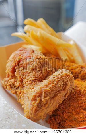 Crispy Deep Fried Chicken And French Fries