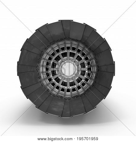 Turbofan Engine on white background. Front view. 3D illustration, clipping path