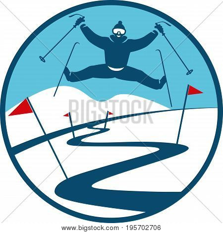 Ski Track Logo. Winter Landscakpe. Red Flags and Skier in a Flat Style
