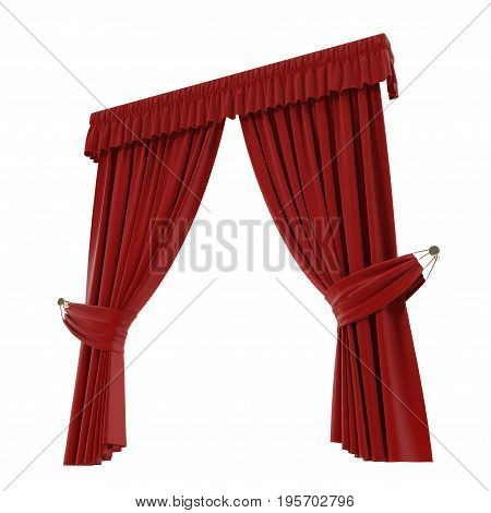 Classic red curtain. Isolated on white background. 3D illustration, clipping path