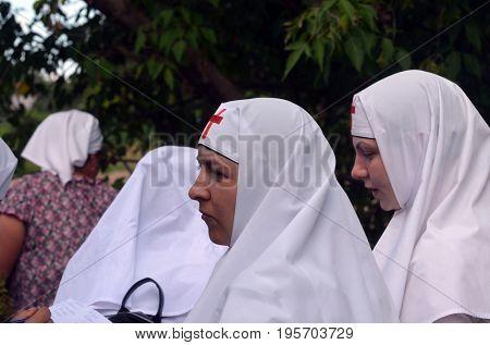 Orthodox religious procession.Nuns of The Monastery of St. Elizabeth.Kiev region,Ukraine.July 17, 2017