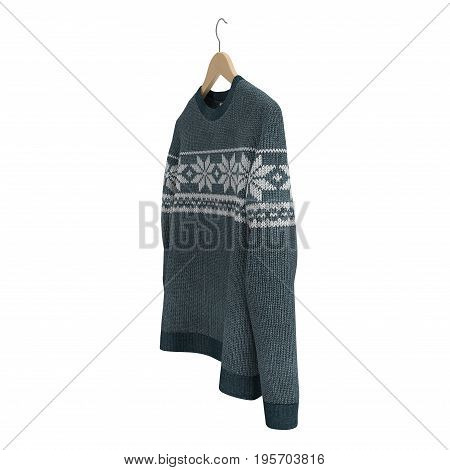 Man's sweater with hanger on white background. 3D illustration, clipping path