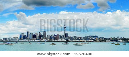 The beautiful Auckland skyline with white fluffy clouds...