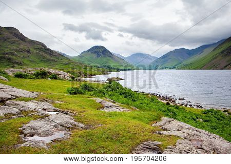 Roadside view of Wast Water lake, District National Park, England, selective focus